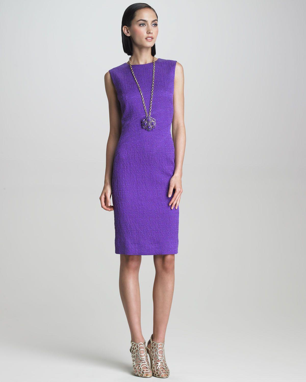 Gojee - Sleeveless Crimped Fabric Dress by Oscar de la Renta | dress ...