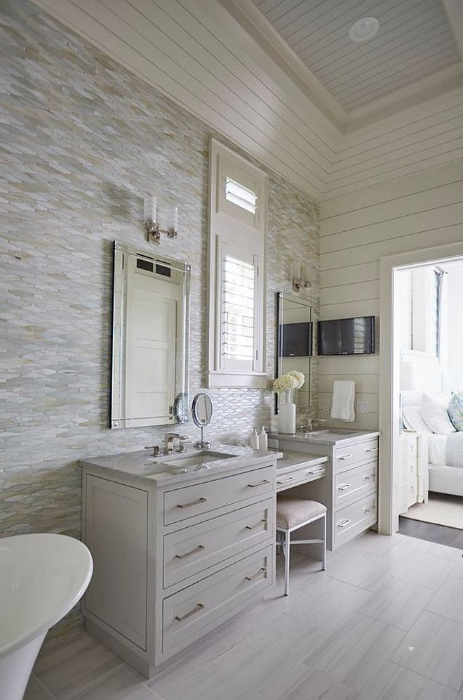 Oblong Marble Tile Wall  Bathroom features Oblong Marble Tile and shiplap  walls  This master. Oblong Marble Tile Wall  Bathroom features Oblong Marble Tile and