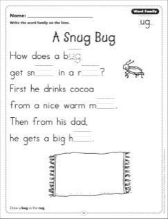 A Snug Bug (Word Family -ug): Word Family Poetry Page | Stuff to ...