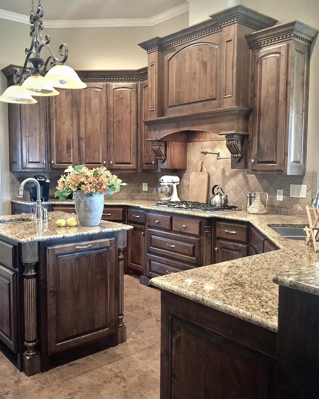 I Was Asked To Share My Kitchen Guess That I Don T So Much Because It S Not W Stained Kitchen Cabinets Tuscan Kitchen Rustic Kitchen Cabinets