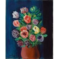 Bouquet of Tulips with deep blue Background 1928 Kisling BMA