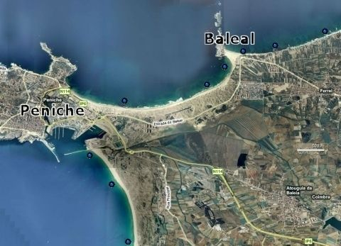 Peniche And Baleal Aerial Location Map Portugal Atlantic - Portugal map baleal