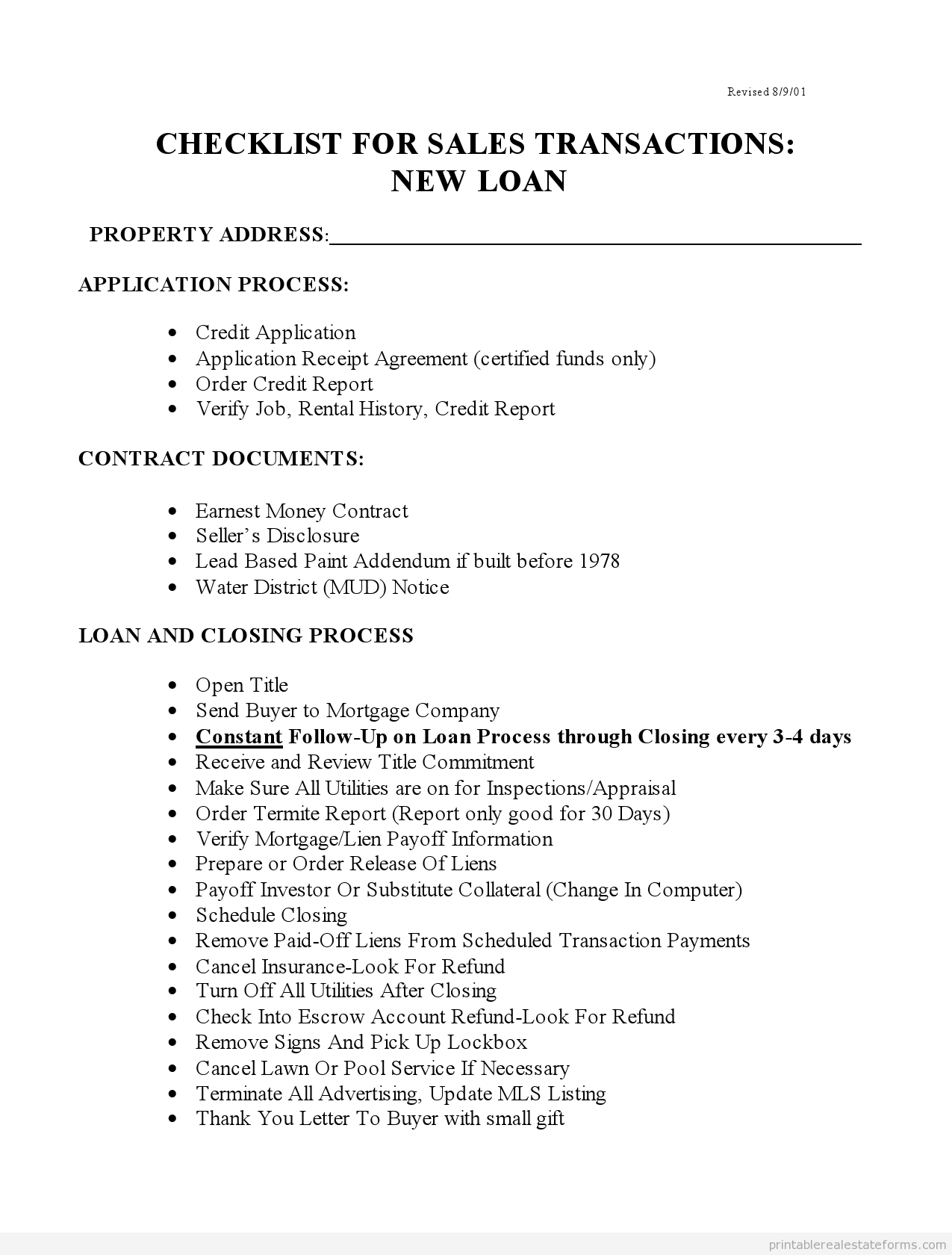 Free Printable Checklist For Sales With New Loans  Form