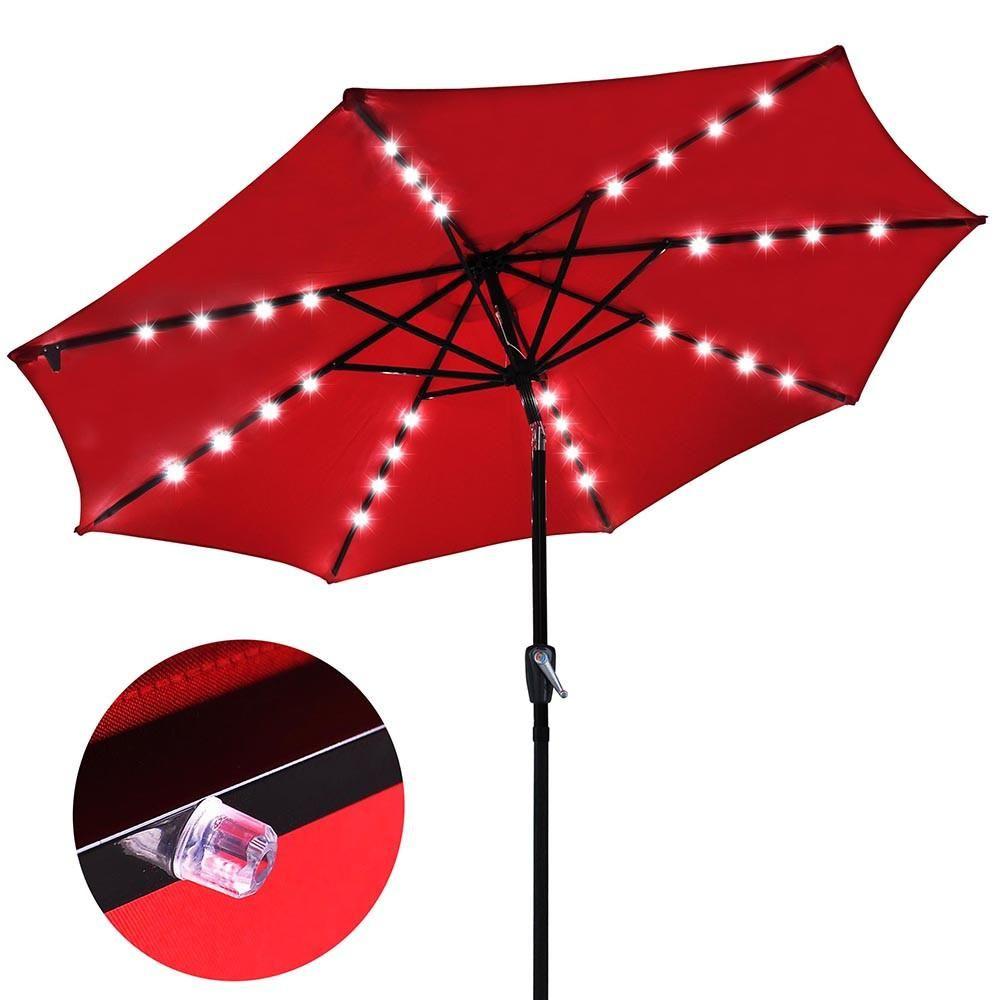9 foot patio led solar light umbrella color options landscape