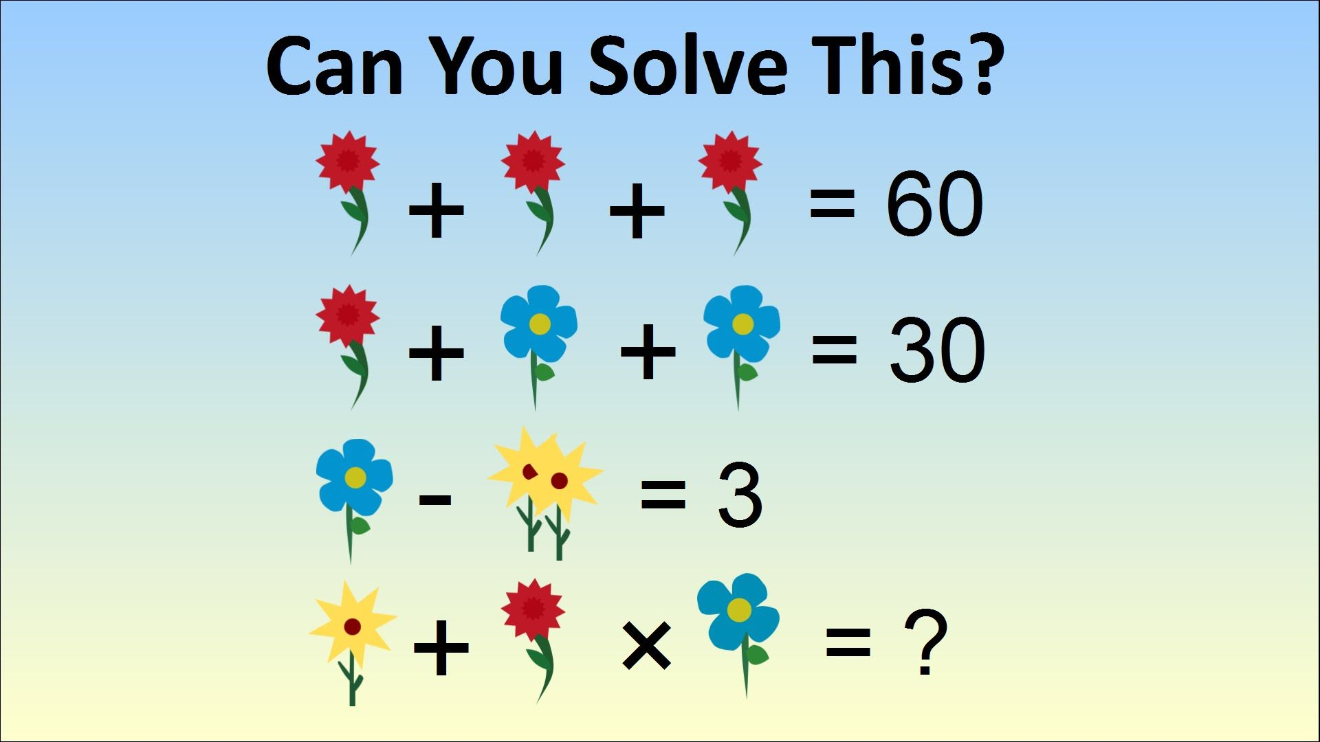 Flower Math Problem - Adults Stumped By Question For Kids In China ...