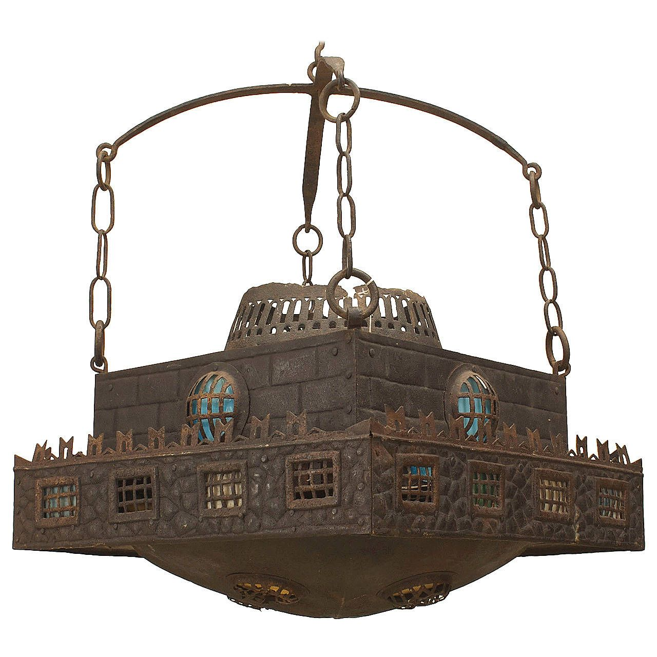 Early 20th Century German Wrought Iron And Stained Glass Chandelier