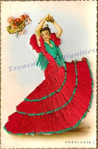 0bd54c5c841e 1920s Spanish Woman Flamenco Dancer Silk Embroidered Andalucía ...