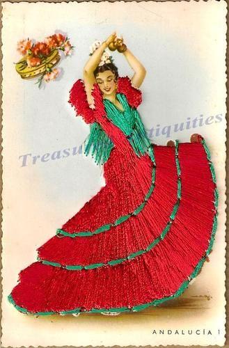 1920s Spanish Bungalow Plans: 1920s Spanish Woman Flamenco Dancer Silk Embroidered
