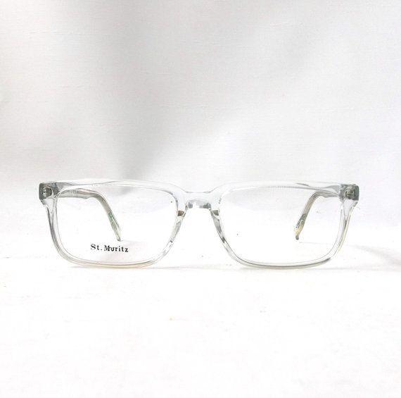 vintage 1980\'s NOS eyeglasses square clear plastic frames crystal ...