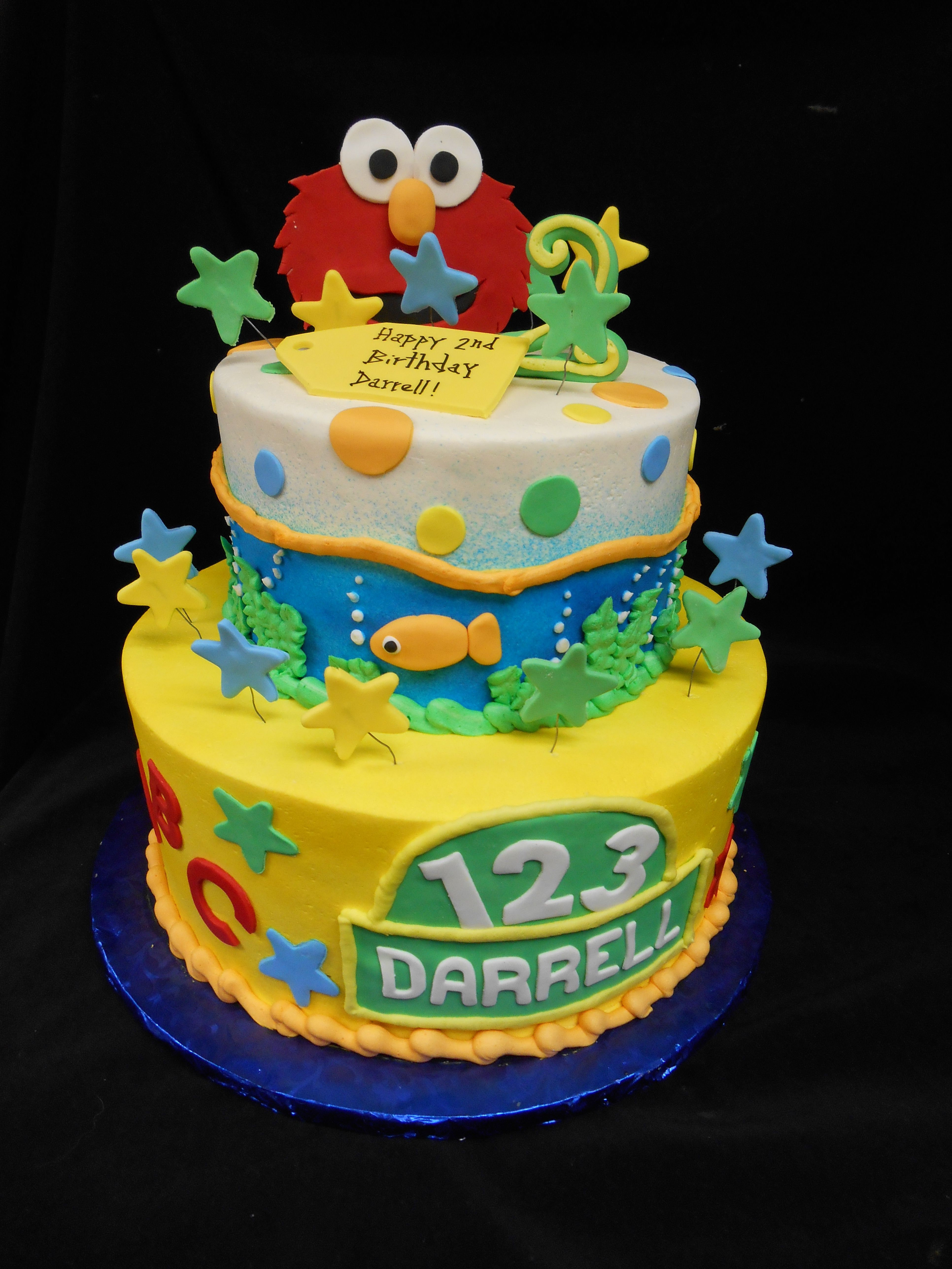 2 Tiered Buttercream Elmo Birthday Cake