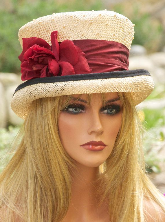 Kentucky Derby Hat. Victorian English Riding Hat. Natural Straw & Claret Red Silk. ONE-OF-A-KIND.