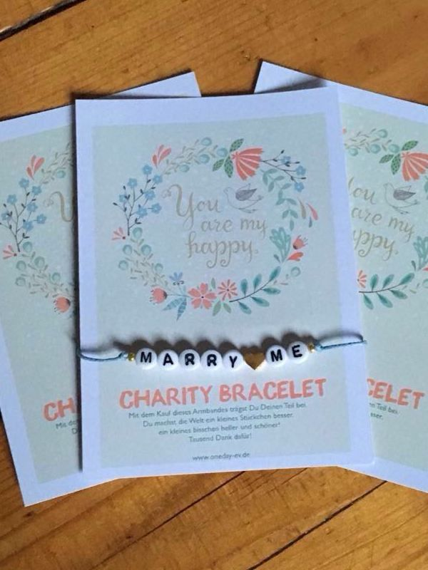 Charity Bracelets - One Day e.V. Wedding Hochzeit Gastgeschenk Weddingplanner Marry Love Cute Bracelet
