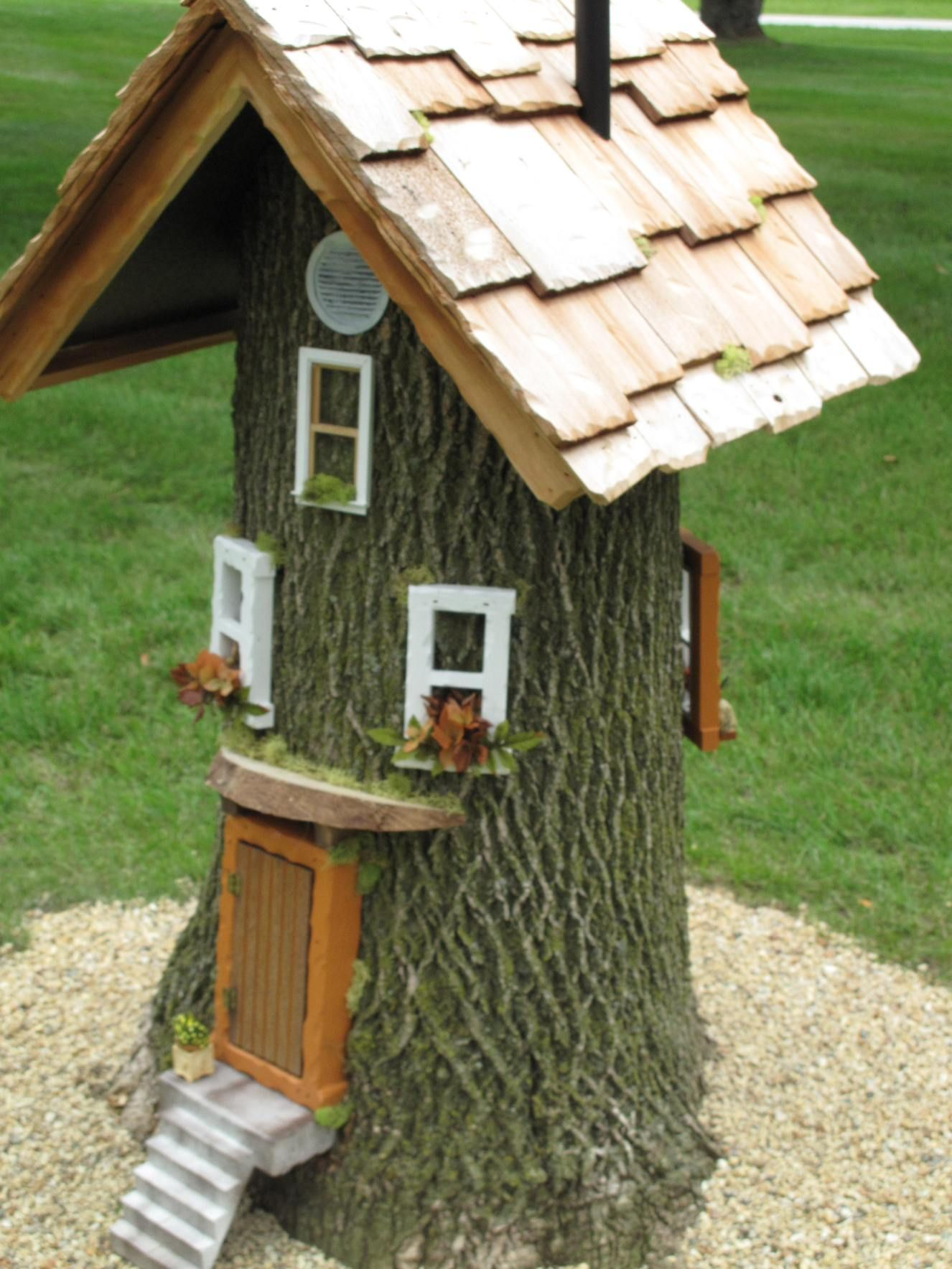Little Gnome House For Rent Fairy Tree Houses Fairy Garden Houses Gnome House
