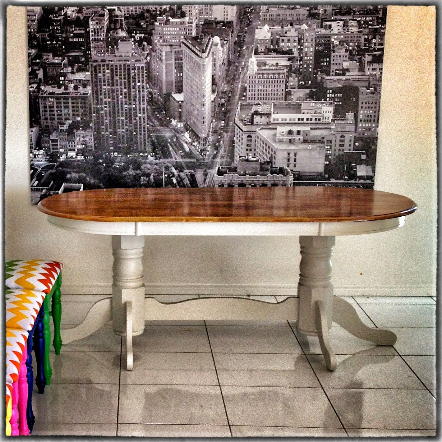 Upcycled dining table walnut top with elegant grey base for Upcycled dining table