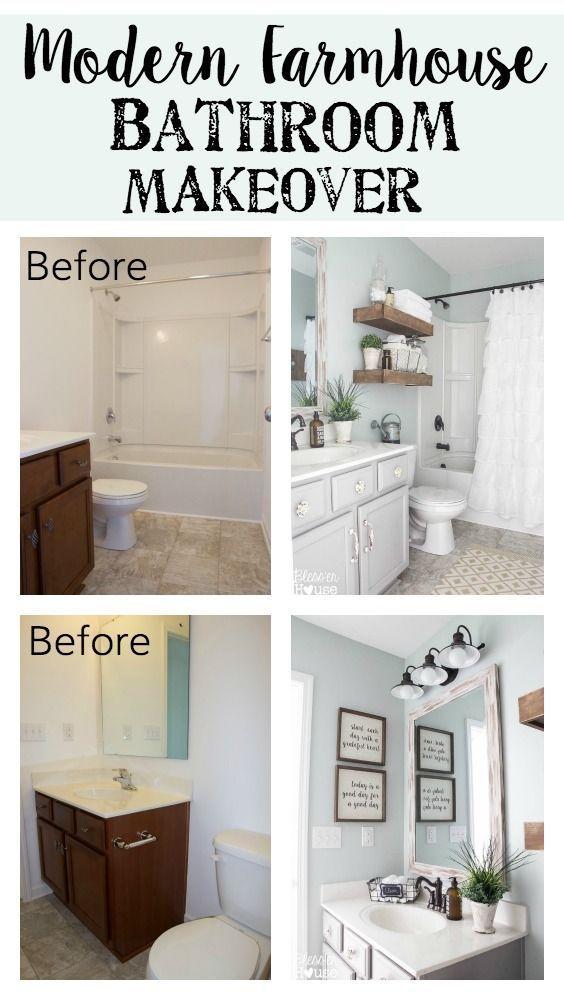 Modern Farmhouse Bathroom Makeover Blessu0027er House   So Many Great Ways To  Create Charm In A Builder Grade Bathroom On A Budget!