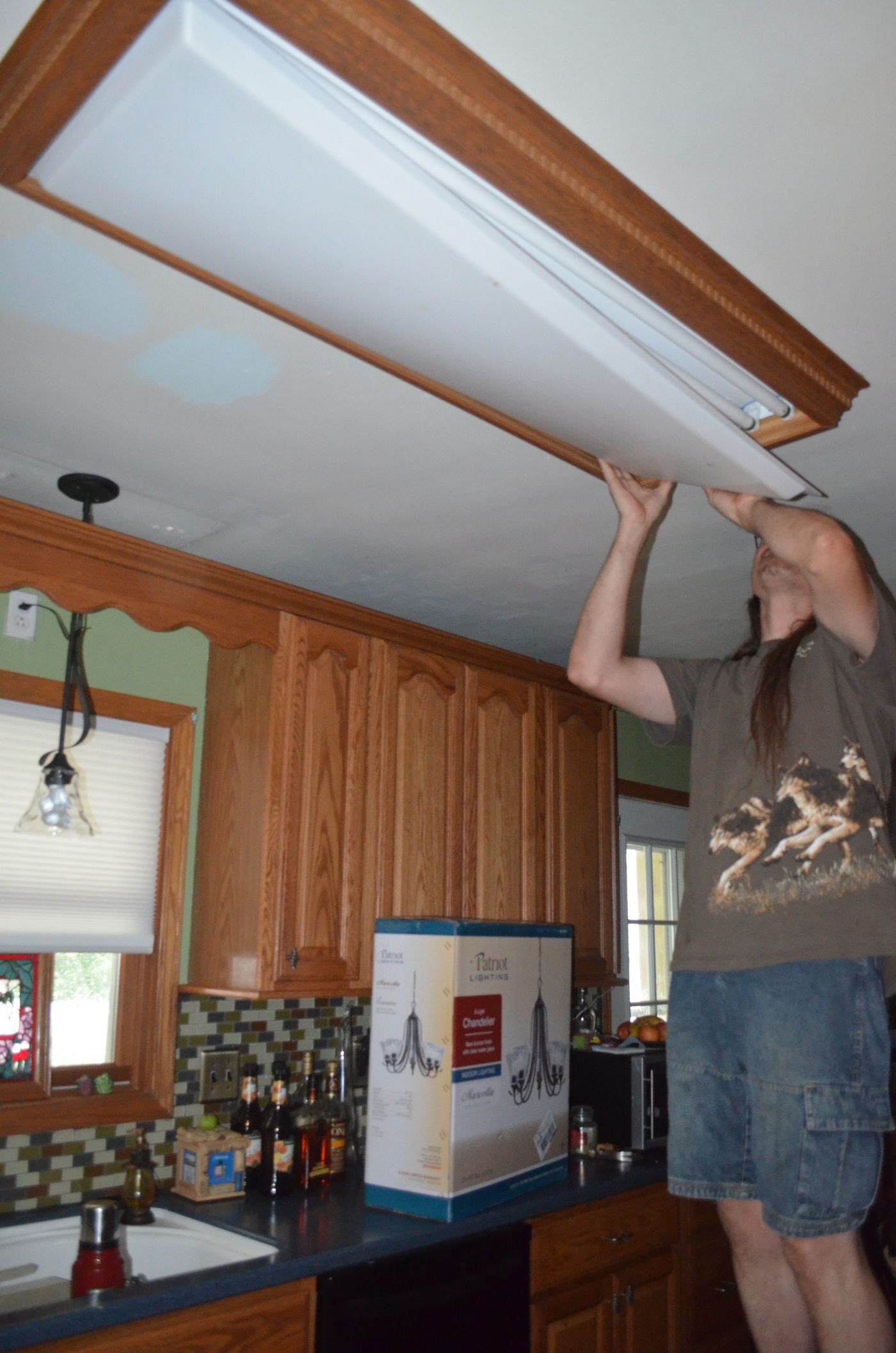 overhead kitchen lighting. Replacing The Overhead Florescent Light In Kitchen Lighting H