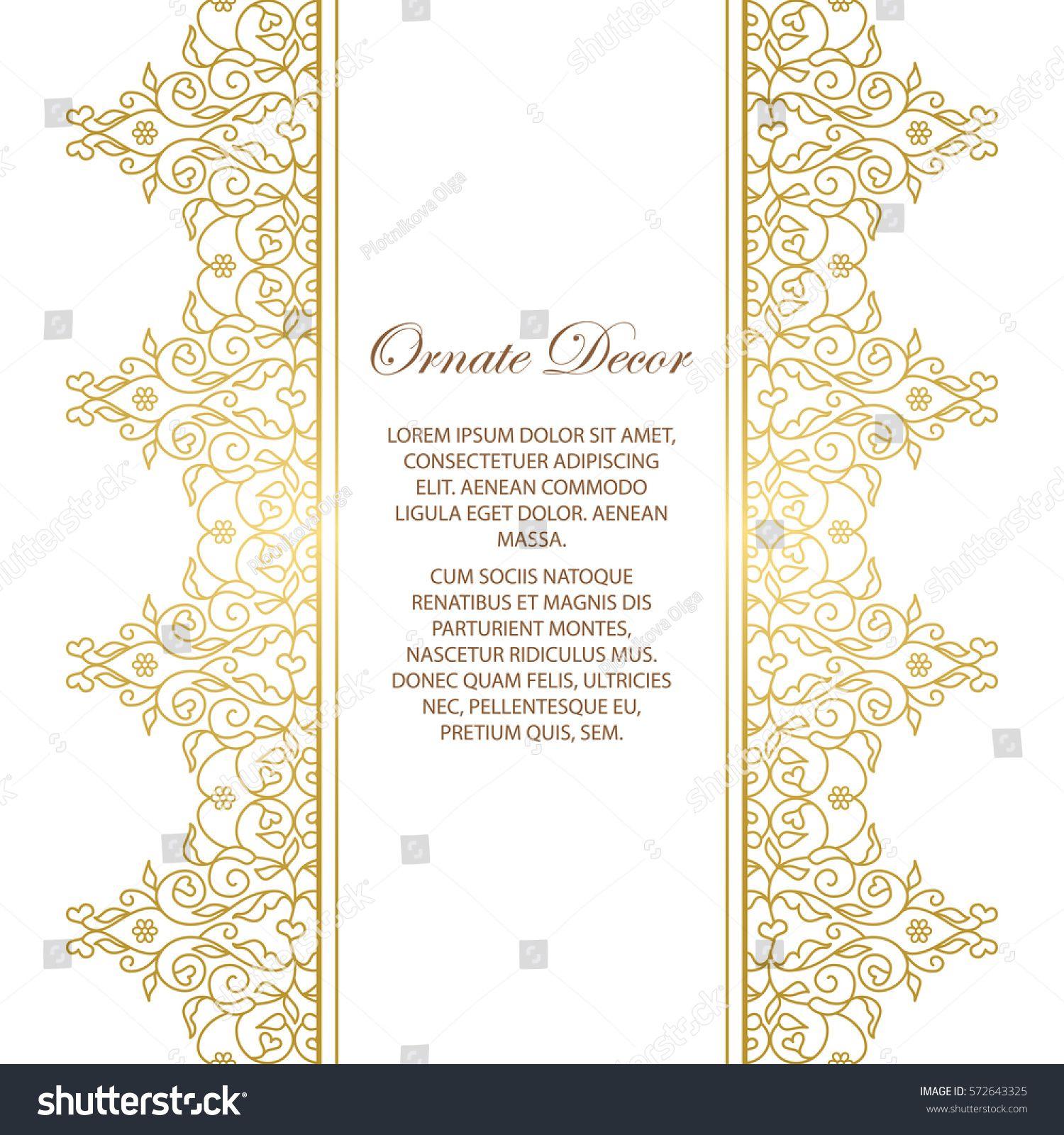 Vector Gold Ornamental Decorative Frame Elegant Ornate Element For Design Template Place For Text Luxury Floral Border Lace Decor Frame Decor Frame Decor