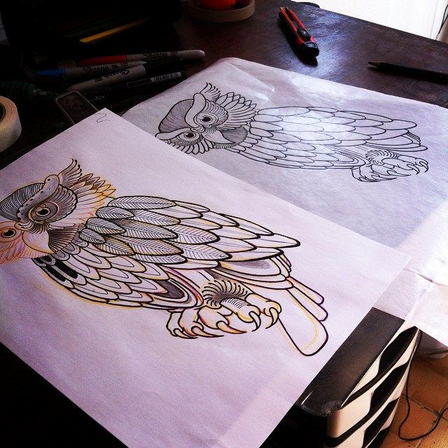Disponível pra tatuar no Black Horse Tattoo na av. São Luis, 192 Loja 12. #owl #coruja #polonesart #tattoo