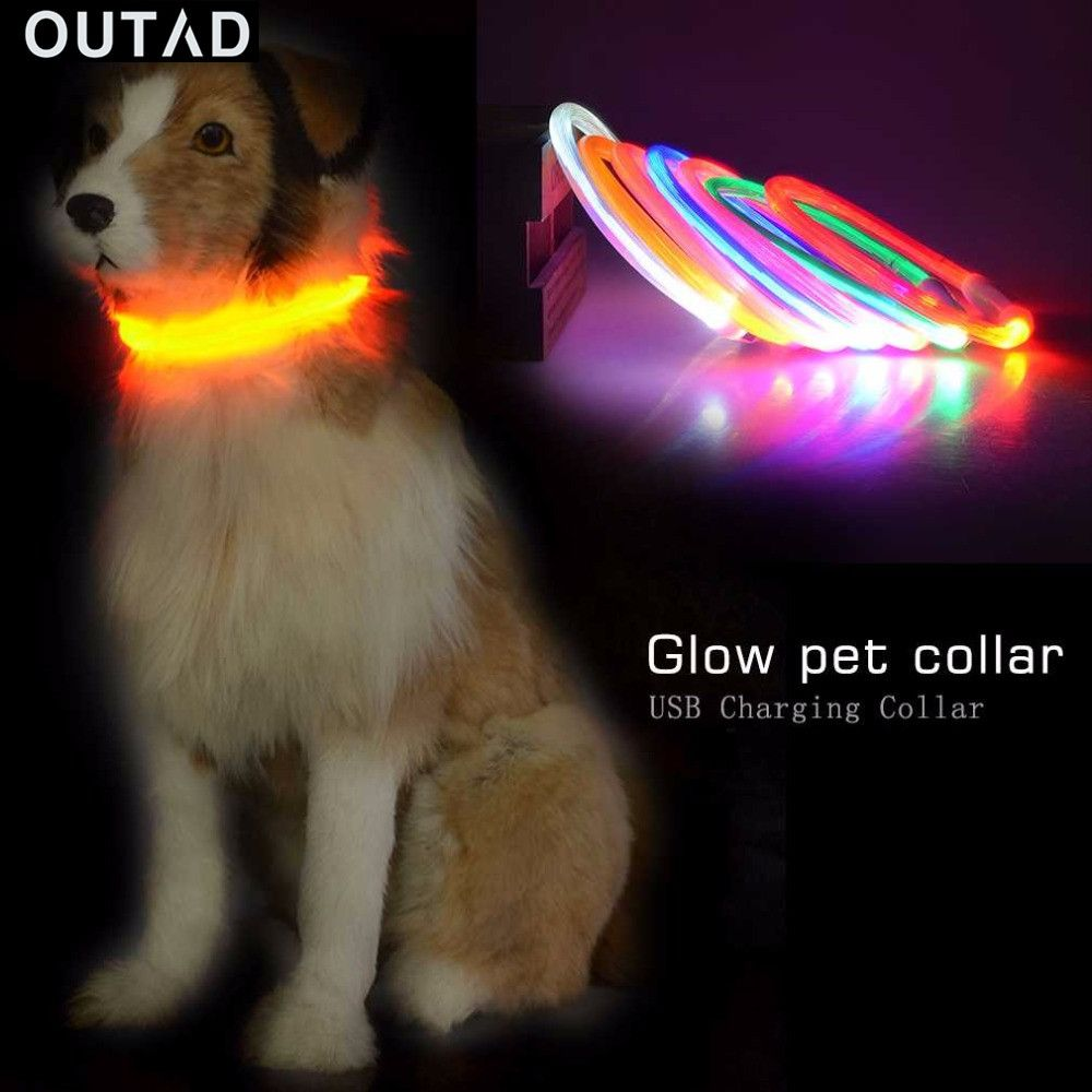 OUTAD  Dogs Necklaces USB Luminous Pet Collar Flashing Light USB Charging Collar Teddy Flash Collar Pet Supplies Night Safety #Affiliate
