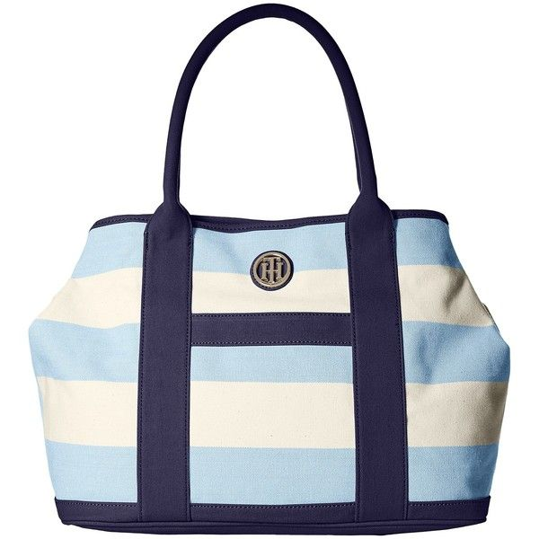 37b6248d527 Tommy Hilfiger TH Totes - Woven Rugby Canvas Shopper (Placid Blue/Natural) Tote  Handbags featuring polyvore, women's fashion, bags, handbags, tote bags, ...