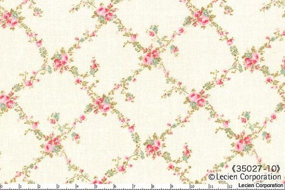 DURHAM ANEW by Brenda Riddle, Japanese, Lecien, 2013, Floral Lattice in Cream, 35027-10,1/2 yard