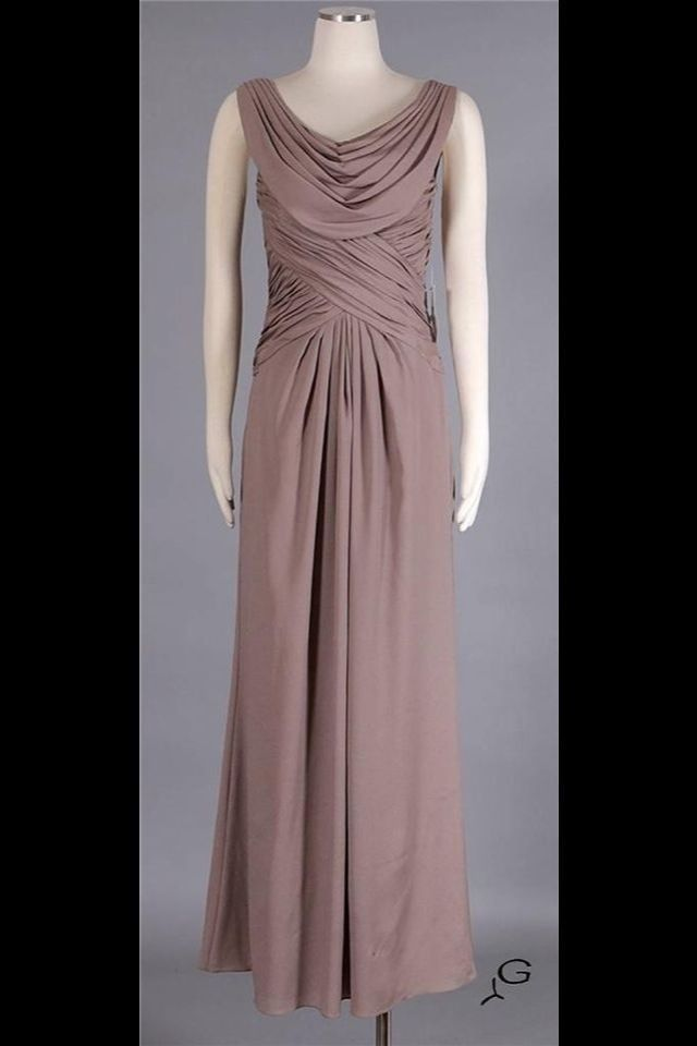 Patra - NWT - Sz 16 - Taupe Drape Long Formal Dress MOB Evening Gown ...