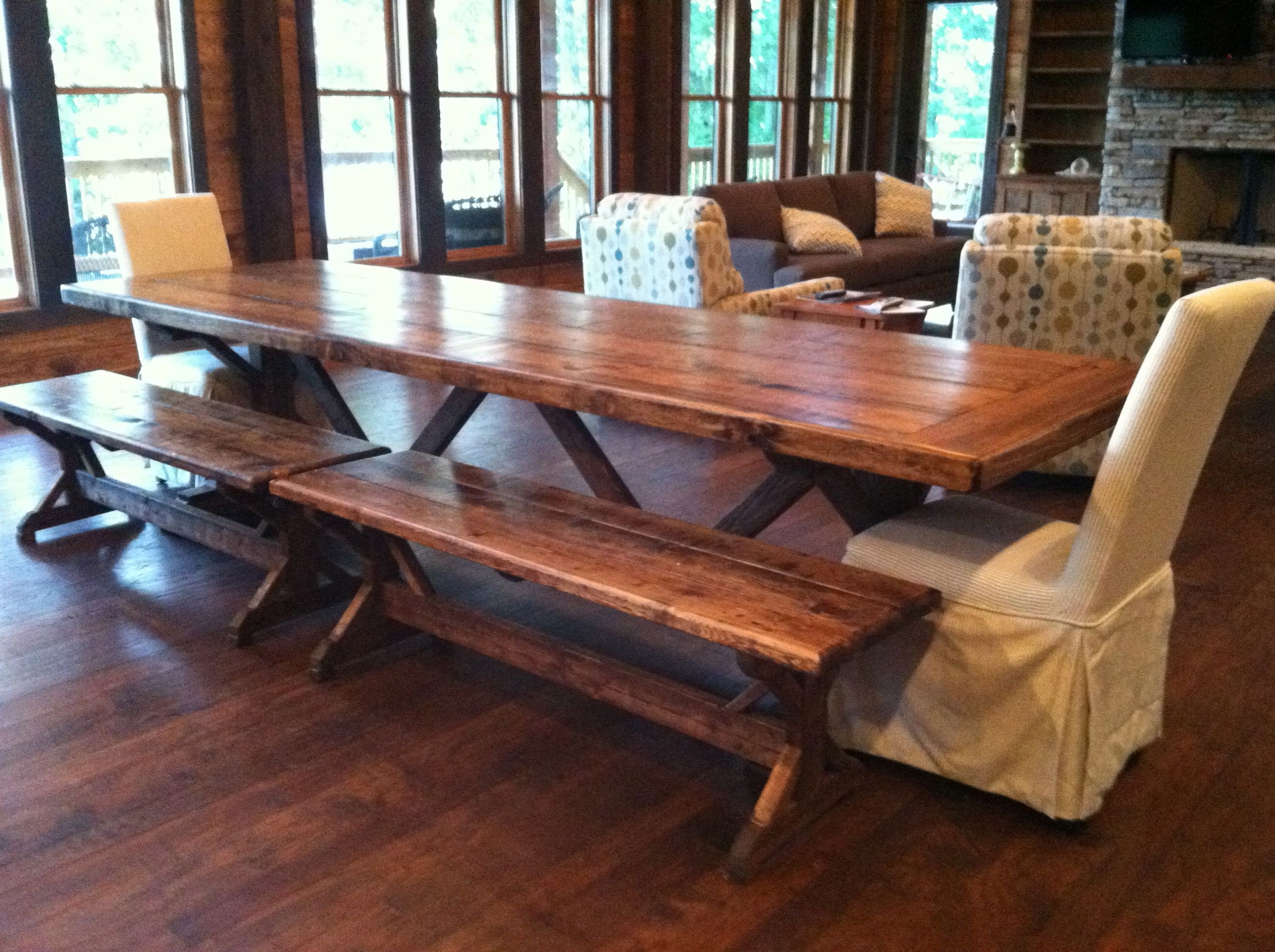 10 Foot Farm Table With Two 5 Foot Benches For A New Home On Lake