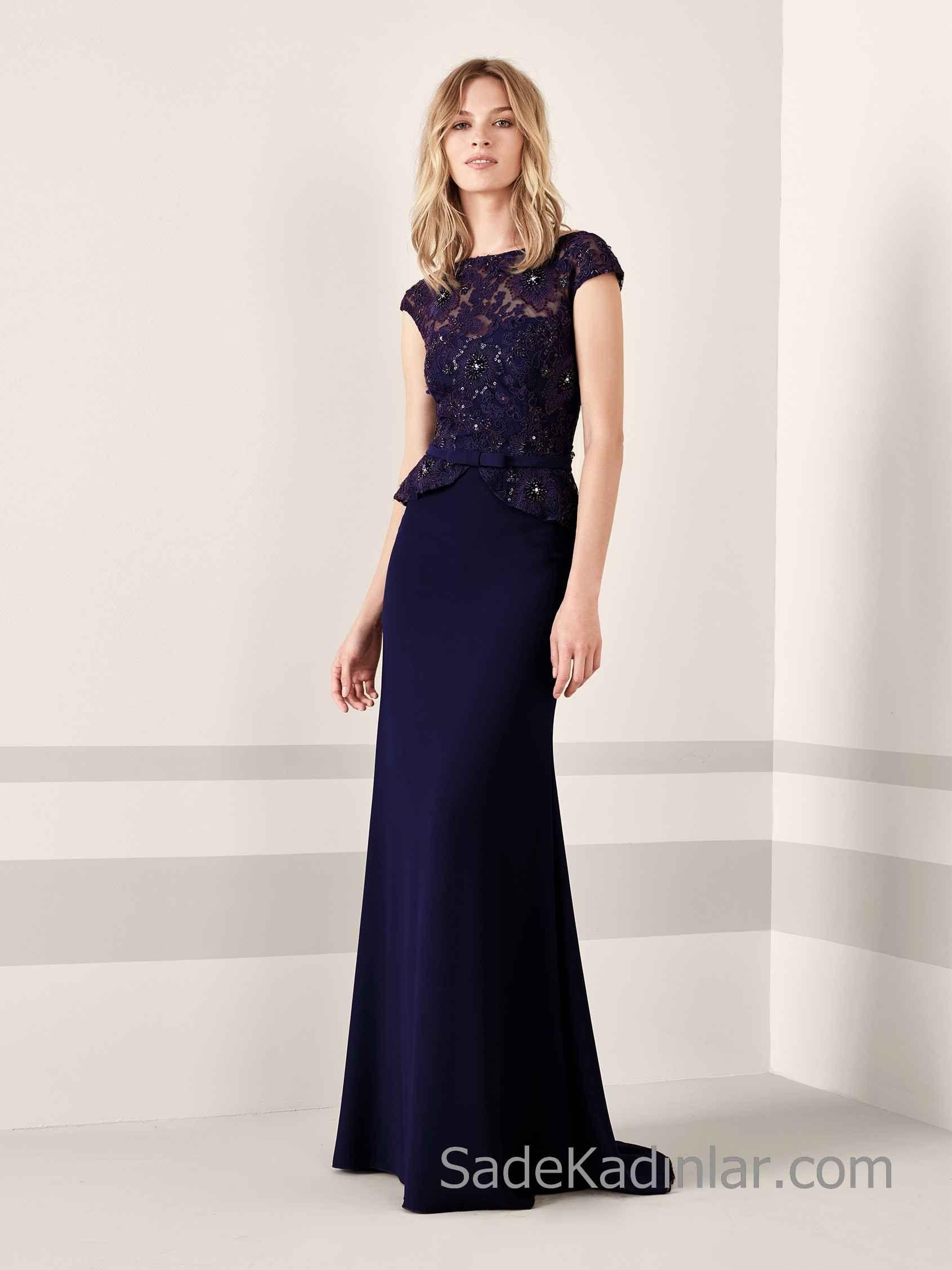 Pronovias 2020 Abiye Elbise Modelleri Lacivert Uzun Kisa Kollu Kayik Yaka Boncuk Islemeli Kisa Etekli Elbiseler The Dress Balo Elbiseleri