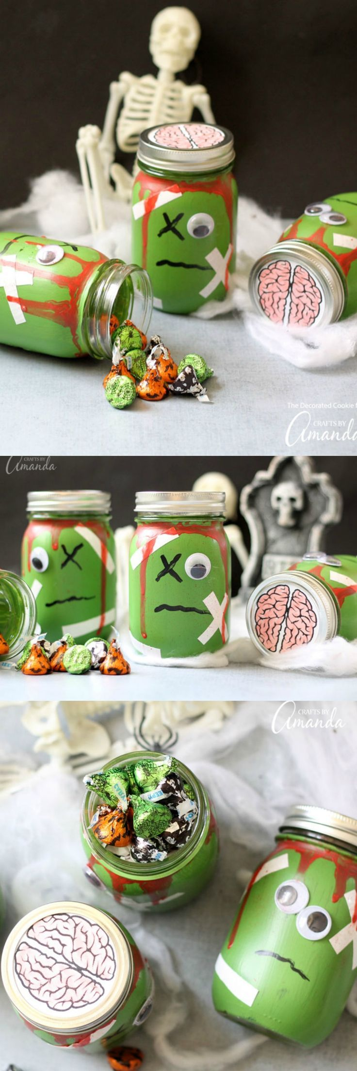 Zombie wedding decorations  Fill these zombie mason jars with toys for a candyfree Halloween