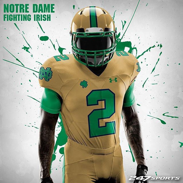 1155895be73 All gold Notre Dame concept uniform designed by  tedhymanimages ☘   notredame  fightingirish  ND  irish  concept  UnderArmour  UA   collegefootball   ...