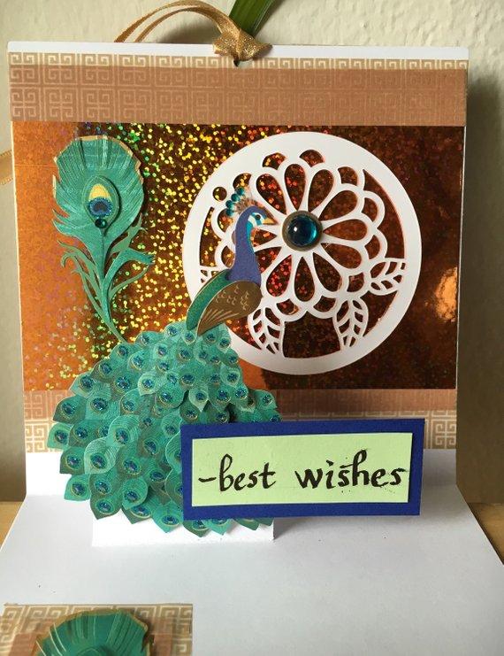 Wedding Card, Indian wedding card, peacock,art deco wedding card Pop-up wedding card, 3D Card,
