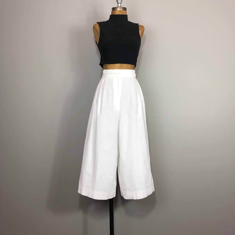 80s Wide Corduroy Pleat Front Pants by Liz Wear