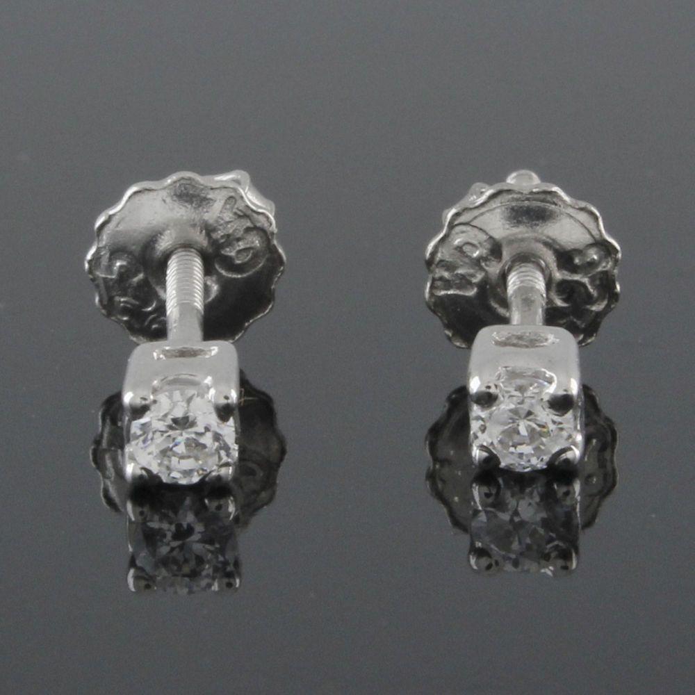 VVS1 0.20 ct Round Cut Diamond Stud Earrings Screw Back Sterling Silver #Gemdepot #Stud #(I-E37)