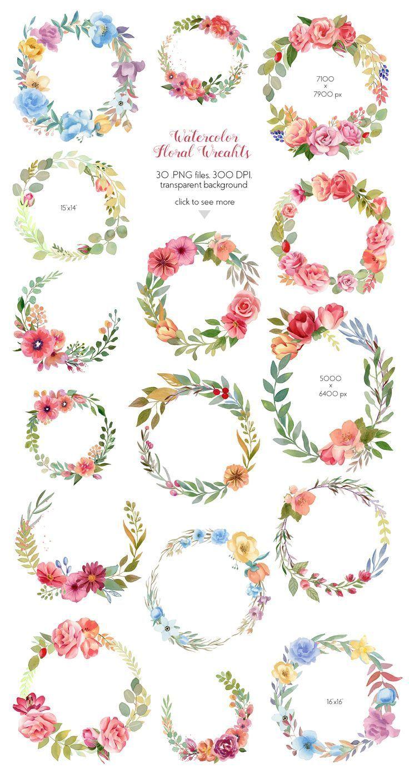 Photo of Aquarell Blumen Kränze Sammlung Set