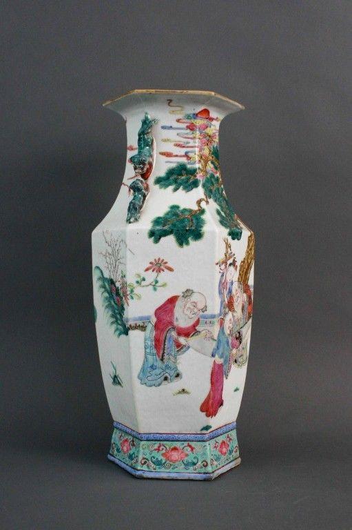Large Chinese Hexagonal Famille Rose Vase Chinese Ceramics