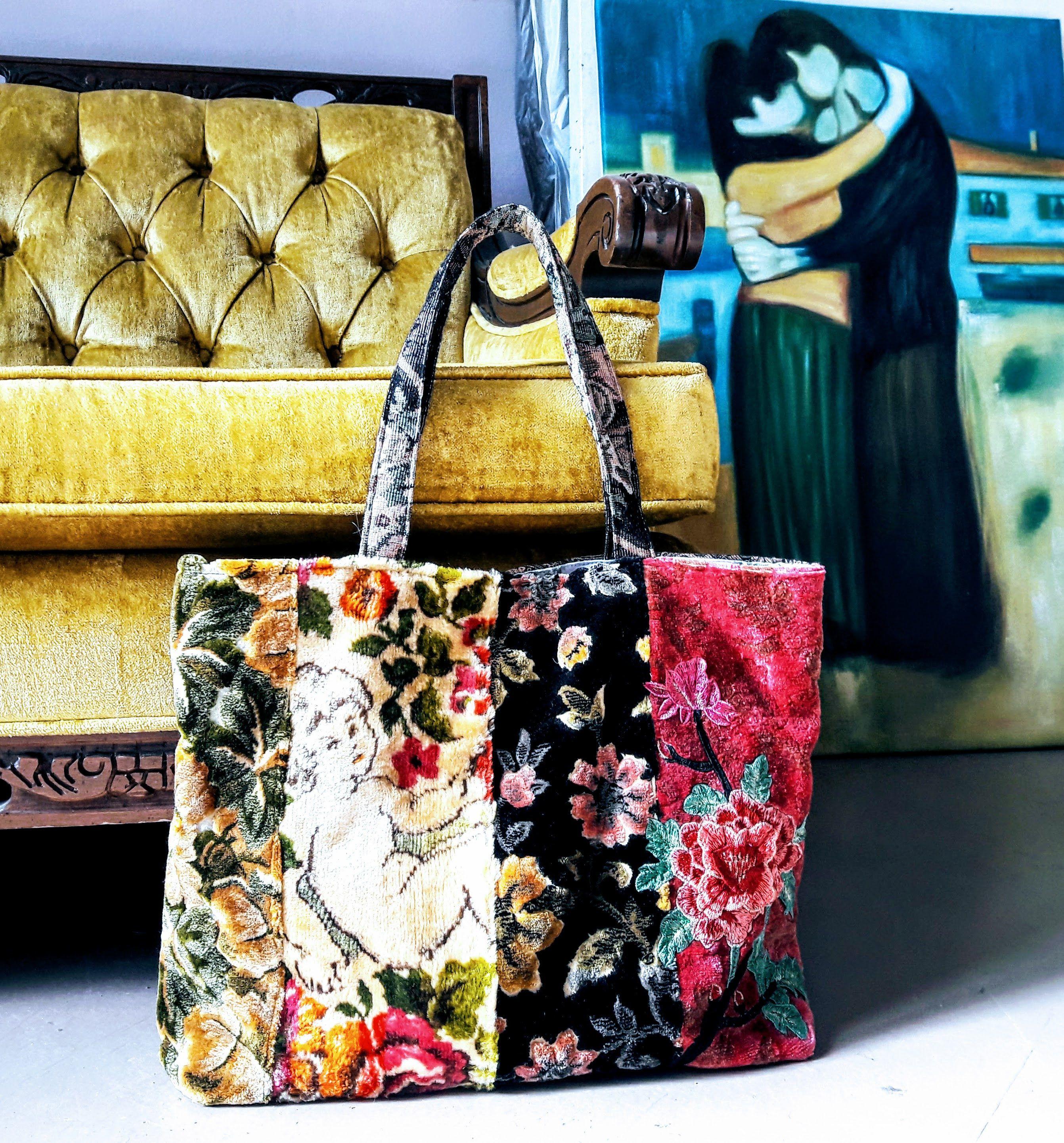 Two vintage floral tote bags