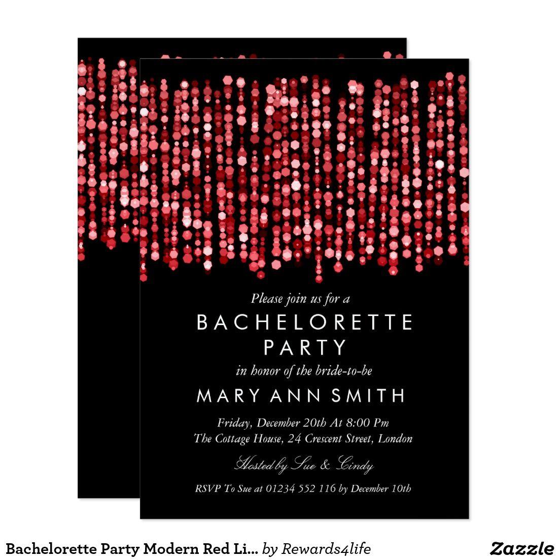 Bachelorette Party Modern Red Lights Invitation | Pinterest ...