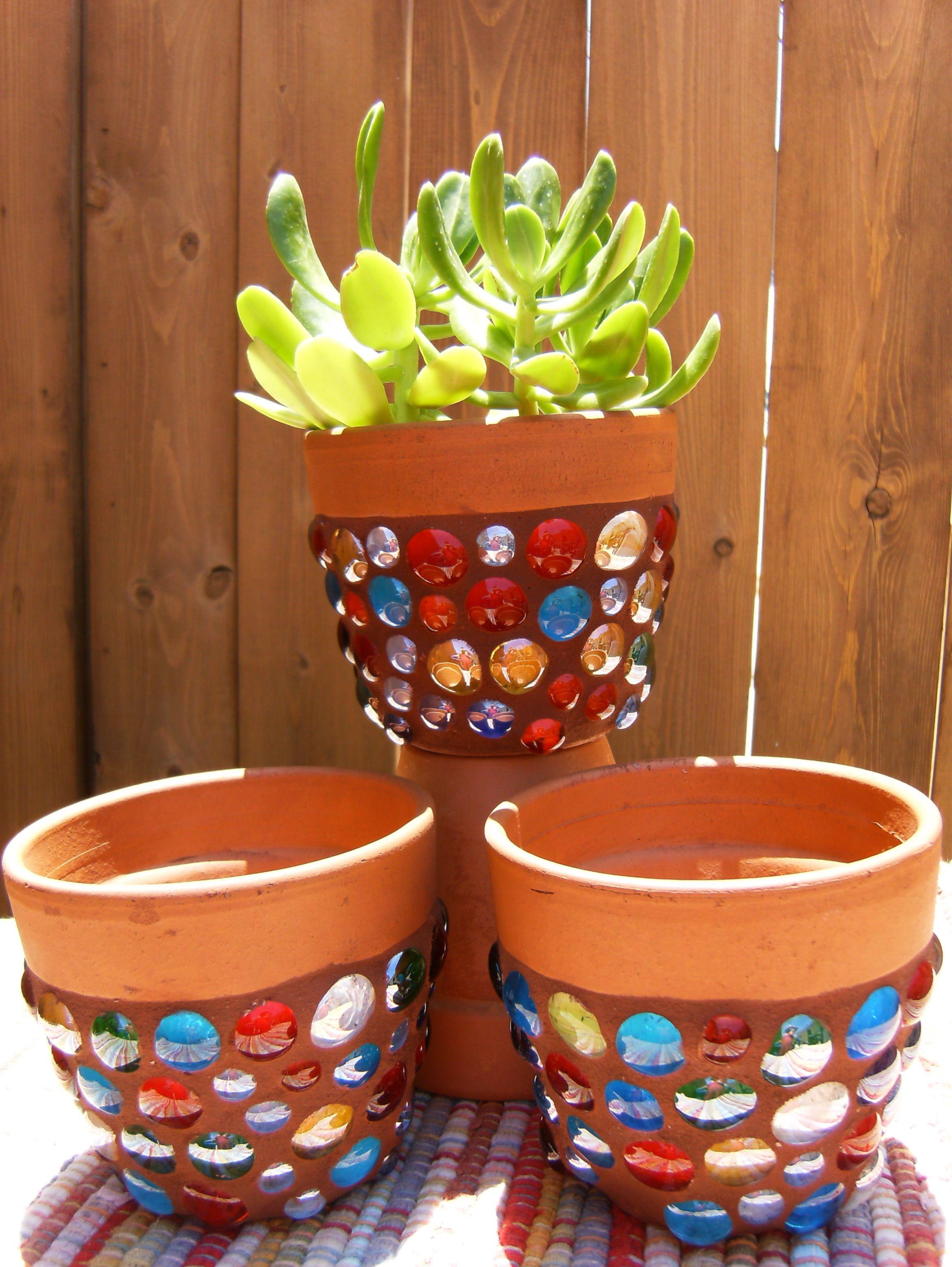 mosaic diy pot pots creative items decor glass mirror crafts clay flower mosaics easy garden terra beads cotta craft window