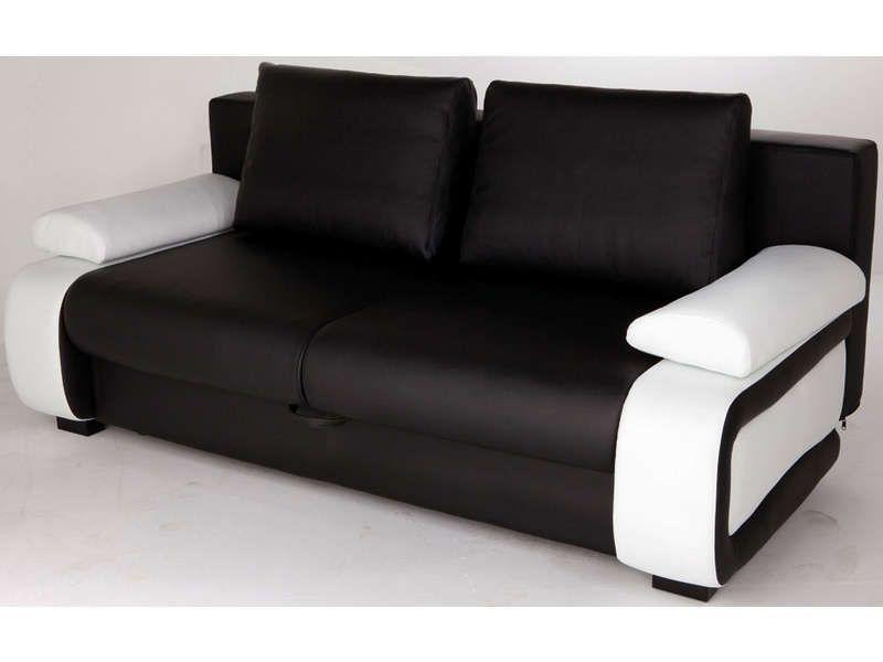 Canape Convertible 2 Places Vittorio Coloris Noir Blanc Pas Cher C Est Sur Canape Droit Canape Canape Convertible