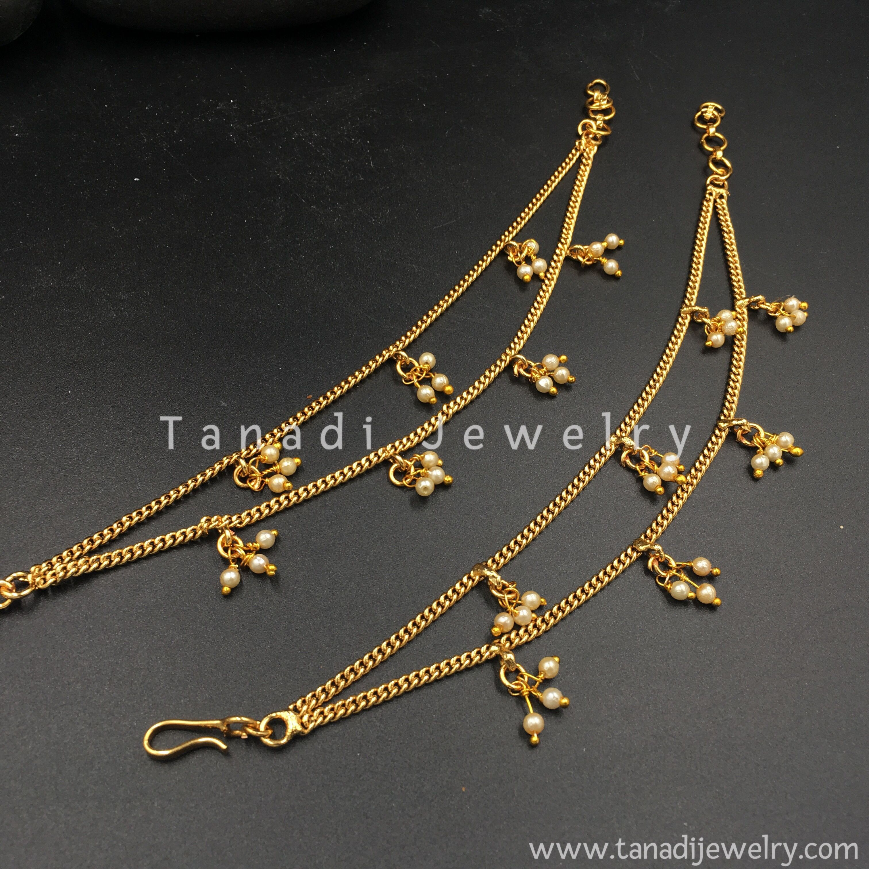 Golden earchain with moti clusters two layers jewelry