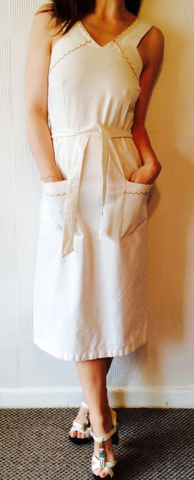 Superb RARE 70s White Cream MIDI Sun Dress Femme Festival Chic Boho Wedding s M | eBay