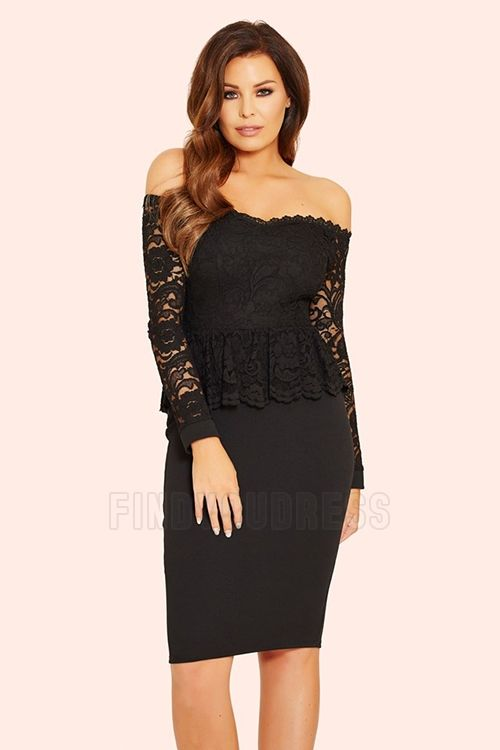 ad89a680ecb6a Sheath Column Off-the-shoulder Knee-length Evening Dress With Lace ...