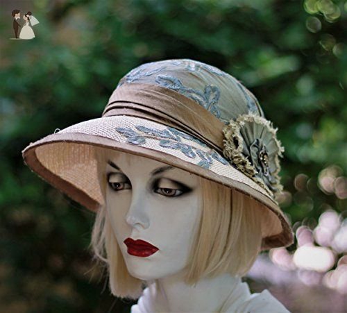 1920s Wide Brim Vintage Style Straw Summer Hat Bridal Hats And
