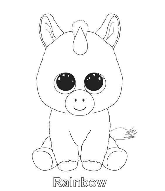 Beanie Boo Rainbow Coloring Pages | Unicorn coloring pages ...