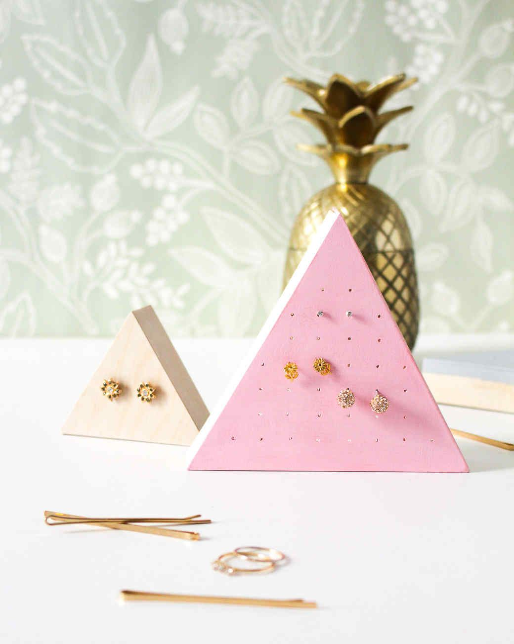 Wooden Stud Earring Holders Diy wood Triangles and Woods