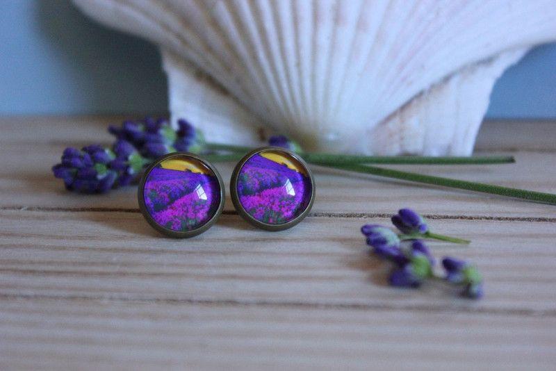 Ohrstecker Lavendelfeld von Le petit bouton auf DaWanda.com