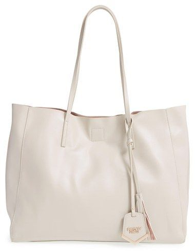 POVERTY FLATS by rian 'Colorful' Faux Leather Shopper - Grey - $68.00
