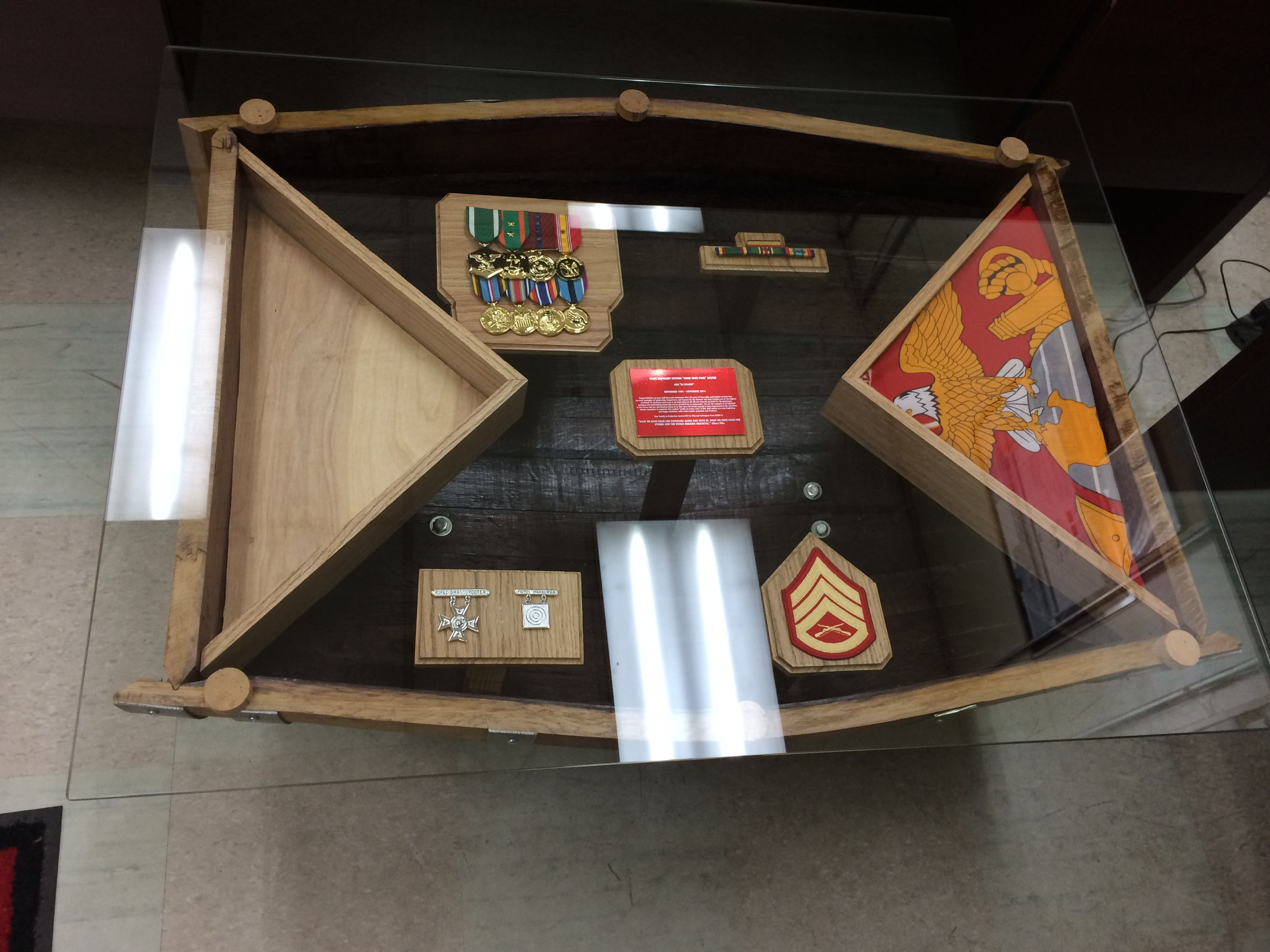 Wine barrel shadow box coffee table completed marine for Table 6 usmc