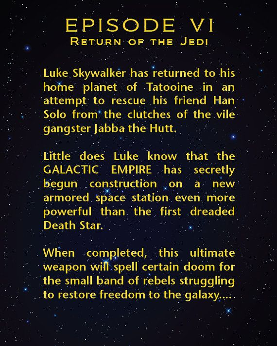 Episode 6 Return Of The Jedi Star Wars Movies Each Episode Etsy Star Wars Movie Empire Strike A New Hope