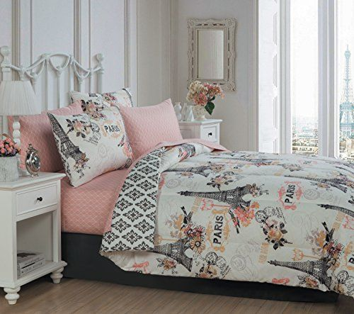 Avondale Manor 8 Piece Cherie Comforter Set Queen Coral Https Www Amazon Com Dp B01k98cyd8 Ref Cm Sw R P Paris Themed Bedroom Paris Bedding Bed In A Bag
